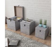 vidaXL 3 Boîtes en cubes à rangement Gris