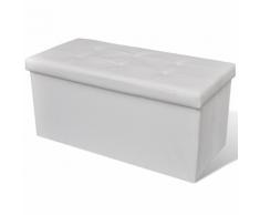 vidaXL Banc de rangement pliable Blanc