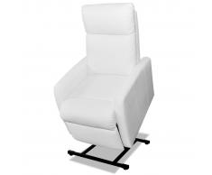 vidaXL Fauteuil électrique inclinable TV 2 positions Blanc