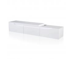 vidaXL Meuble TV extensible blanc brillant 240 cm