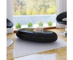 vidaXL Table basse noir fibre de verre