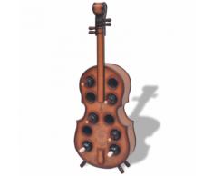 vidaXL Casier à 10 bouteilles en forme de violon Marron