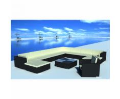vidaXL Salon de jardin 35 pièces noir en polyrotin