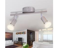 vidaXL Lampe de plafond avec 2 LED en nickel satiné