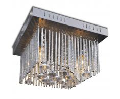 vidaXL Plafonnier Carré avec Décorations Cristaux et Bande Aluminium