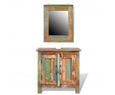 vidaXL Ensemble meuble sous vasque et miroir en bois massif recyclé