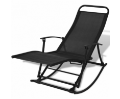 vidaXL Chaise à bascule pliable de jardin Noir