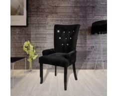 vidaXL Fauteuil avec cadre en bois Velours Noir