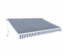 vidaXL Auvent pliant à manœuvre manuelle 3,5 x 2,5 m Bleu et blanc
