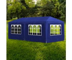 vidaXL Tonnelle de jardin Tente réception Chapiteau Bleu 3x6m