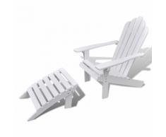vidaXL Chaise de salon jardin en bois chaise relaxation avec repose-pied