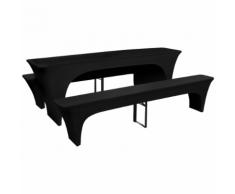 vidaXL 3 Nappe pour table de brasserie et bancs extensible noir 80 cm