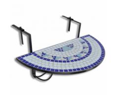 vidaXL Table de balcon suspendue Demi-circulaire Bleu et Blanc