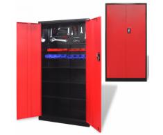 vidaXL Armoire à outils en métal 180 cm Noir-rouge