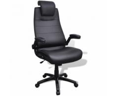 vidaXL Chaise pivotante réglable avec accoudoir en cuir artificiel Noir