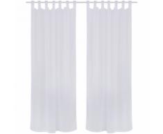 vidaXL 2 Rideaux à oeillets en lin pastiche 135 x 245 cm Blanc