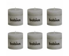 Bolsius bougie cylindre 6 pièces 100 x mm en gris