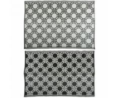 Esschert Design Tapis d'extérieur Cercles 174x121cm Noir et blanc OC17