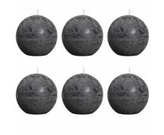 Bolsius bougie boule rustique grise 80mm 6 pièces
