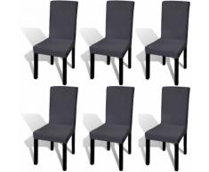 vidaXL Housse de chaise droite extensible 6 pcs anthracite