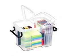 Boîte de rangement en plastique Strata - 6 L - couvercle clipsé - dim int 15,7 x 22,1 x 15,5 cm