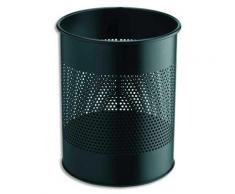 Corbeille à papier métal ajourée - 15 litres - noir