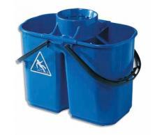 Seau à essorage double bacs eau sale 8L et eau propre 6L + essoreur amovible bleu