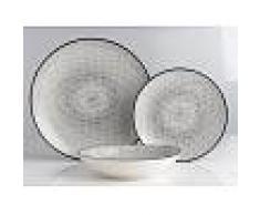 SIA Service vaisselle SIA en porcelaine fine OSIS - 18 pièces - blanc et motifs noirs