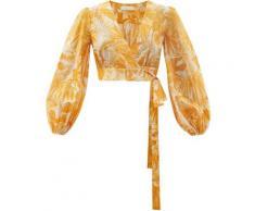 Zimmermann Haut raccourci en coton à imprimé palmier Mae