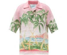 CASABLANCA Chemise col cubain en lin à imprimé palmier