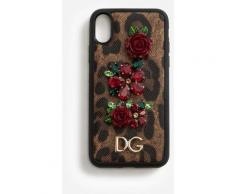 Dolce & Gabbana Iphone X Cover In Printed Dauphine Calfskin With Logo And Appliqués