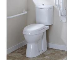 Toilette WC Handicapé Céramique Blanche Abattant Chasse d'Eau Moderne