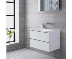 Meuble-Lavabo 75x48x70cm Vasque Marbre MDF Blanc Laqué Design Randwick