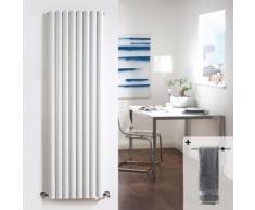 Radiateur Design Vertical Acier Blanc 178x47.2cm Barre Porte-Serviette
