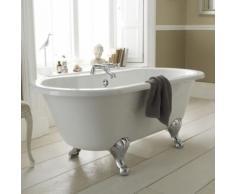 Baignoire Îlot Sabot Sur Pieds Acrylique Blanc Style Rétro 150x74.5cm