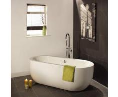 Baignoire Îlot Ovale Bain Sabot Acrylique Blanc Design Moderne 195L