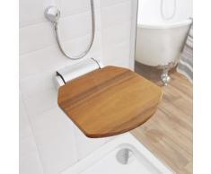 Siège de Douche Bois Teck Design Moderne Rabattable Pliable 35 x 51cm