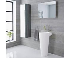 Lavabo Vasque Totem Marbre Blanc Pose Au Sol Design Moderne 85x50cm