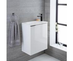 Meuble-Lavabo 50x30x60cm Randwick Vasque Marbre MDF Blanc Laqué Design