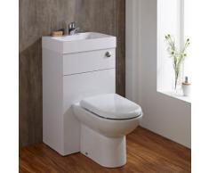 Pack Lave Main WC Intégré Gain Place Céramique Blanche Meuble Lavabo