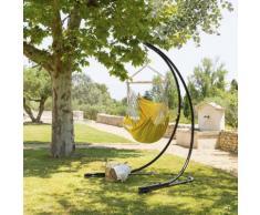 Chaise de détente suspendue Cuenca Curry Jardin Coton naturel, Bois