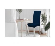 """Ensemble de housses de chaise bi-élastiques, modèle """"Più Bello"""" : Bleu foncé / Lot de 4"""