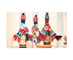 3x Couvre-bouteille Noël : Père Noël-rennes-sapin