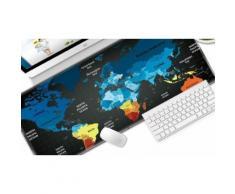 Tapis de souris de bureau complet design carte du monde : Noir + multicolore / 2 (bfbdeec0-bb55-42e8-8ddb-55b45809236b)