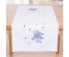 """Chemin de table à broder """"fleurs bleues"""""""