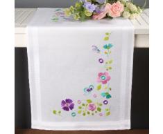 """Chemin de table à broder """"fleurs hautes en couleurs"""""""