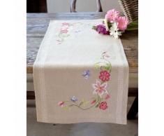 """Chemin de table à broder """"fleurs et ramages"""""""