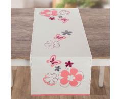 """Chemin de table à broder """"fleurs roses"""""""
