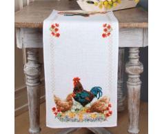 """Chemin de table à broder """"poules"""""""