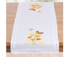 """Chemin de table à broder """"papillons orange"""""""